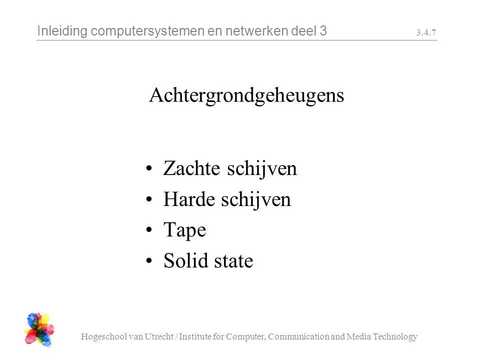 Inleiding computersystemen en netwerken deel 3 Hogeschool van Utrecht / Institute for Computer, Communication and Media Technology 3.4.18 RAID RAID = Redundant array of independent disk Meerdere configuraties mogelijk namelijk : Raid 0 = data op meer disks (sneller) Raid 1 = disk mirroring Raid 2 = opslag over meerdere schijven + correctiebits (Hamming code) Raid 3 = raid 2 met correctiebits op aparte schijf Raid 4 = Raid 3 maar niet synchroon Raid 5 = Raid 4 met correctie bits over meerdere schijven.