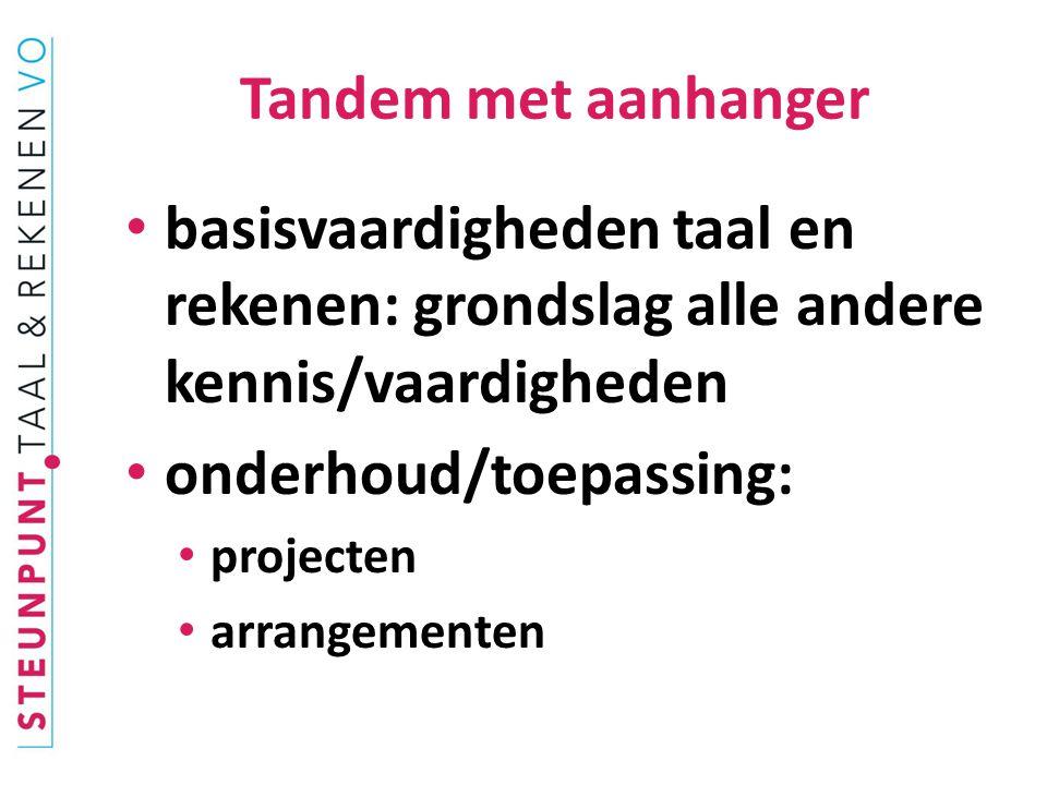 basisvaardigheden taal en rekenen: grondslag alle andere kennis/vaardigheden onderhoud/toepassing: projecten arrangementen