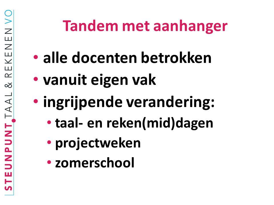 Tandem met aanhanger alle docenten betrokken vanuit eigen vak ingrijpende verandering: taal- en reken(mid)dagen projectweken zomerschool