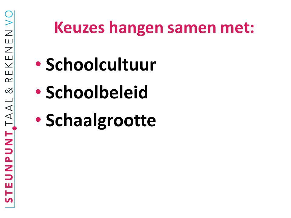 Keuzes hangen samen met: Schoolcultuur Schoolbeleid Schaalgrootte