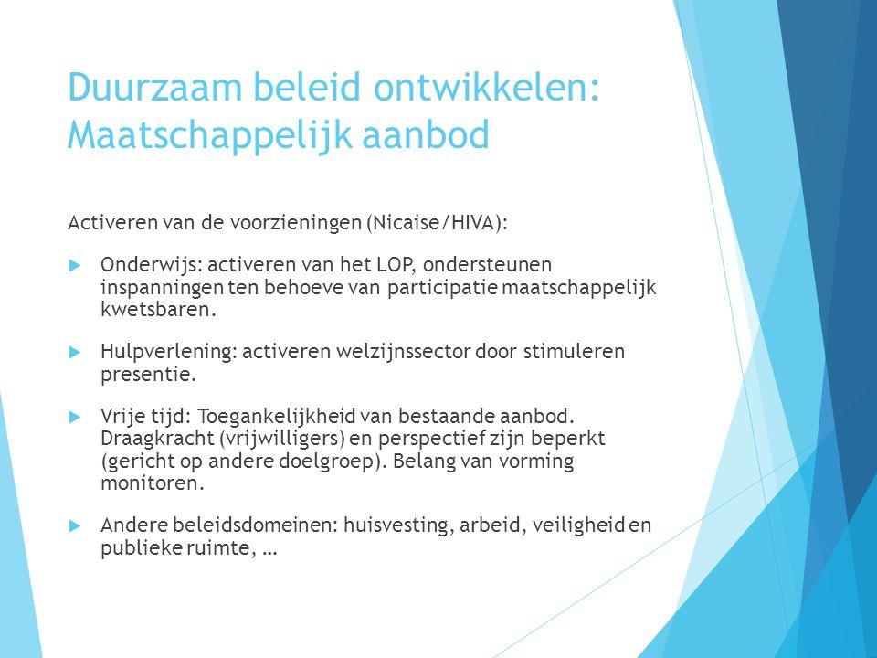 Duurzaam beleid ontwikkelen: Maatschappelijk aanbod Activeren van de voorzieningen (Nicaise/HIVA):  Onderwijs: activeren van het LOP, ondersteunen inspanningen ten behoeve van participatie maatschappelijk kwetsbaren.