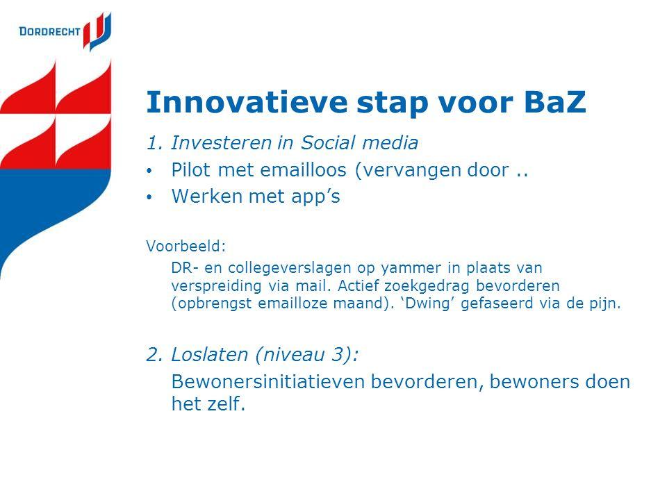 Innovatieve stap voor BaZ 1. Investeren in Social media Pilot met emailloos (vervangen door.. Werken met app's Voorbeeld: DR- en collegeverslagen op y