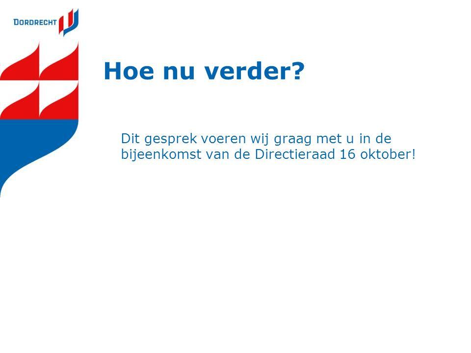 Hoe nu verder? Dit gesprek voeren wij graag met u in de bijeenkomst van de Directieraad 16 oktober!