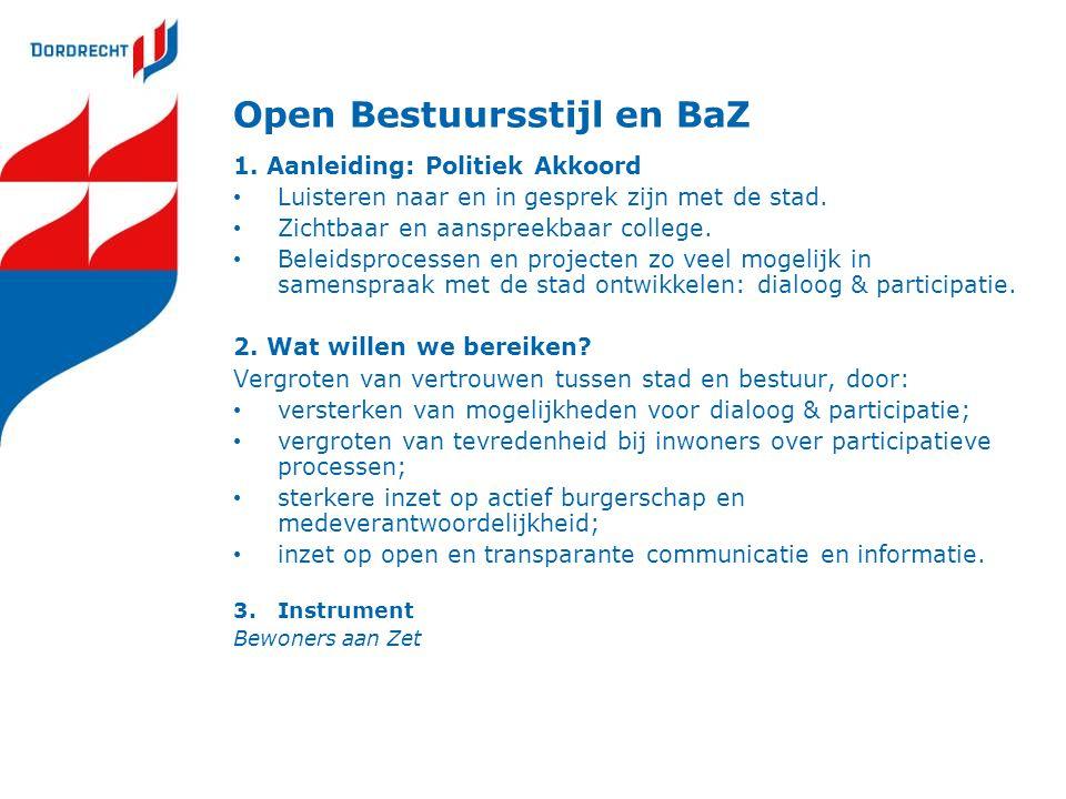 Open Bestuursstijl en BaZ 1. Aanleiding: Politiek Akkoord Luisteren naar en in gesprek zijn met de stad. Zichtbaar en aanspreekbaar college. Beleidspr
