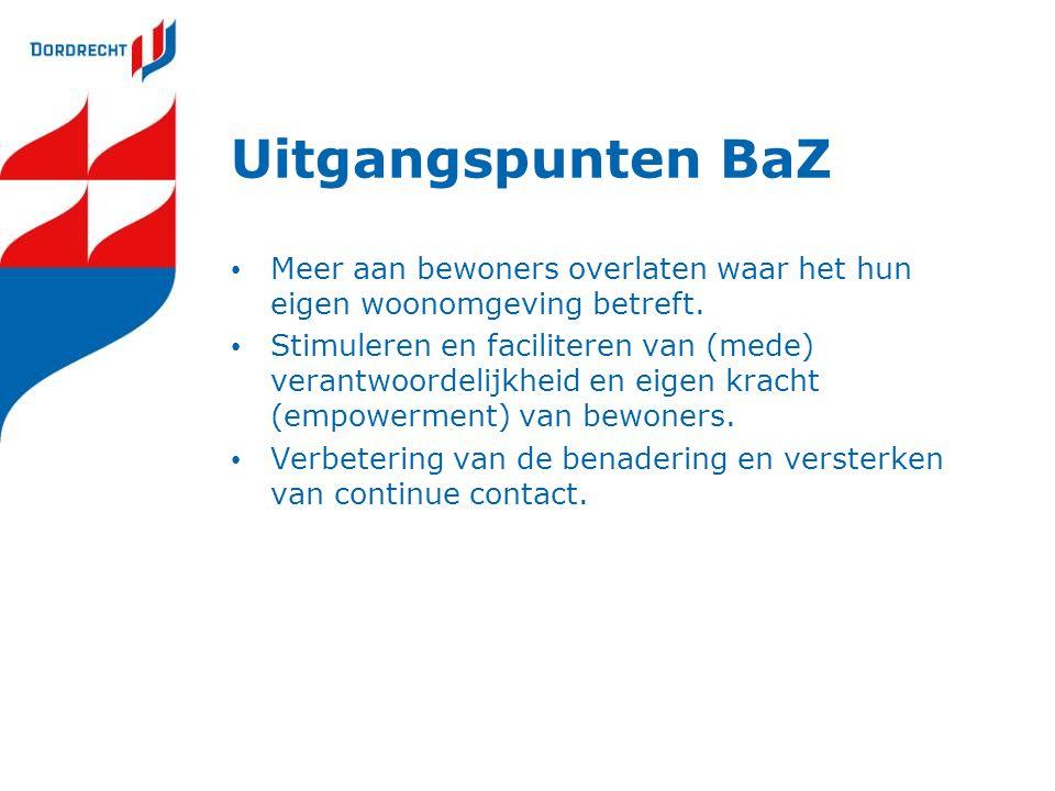 Uitgangspunten BaZ Meer aan bewoners overlaten waar het hun eigen woonomgeving betreft. Stimuleren en faciliteren van (mede) verantwoordelijkheid en e