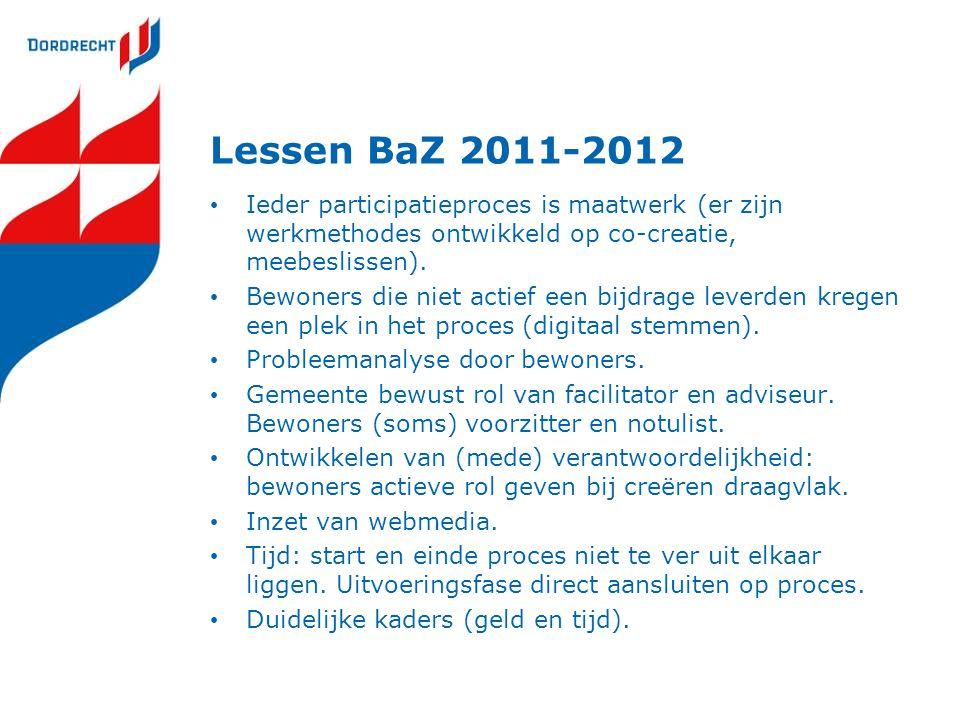 Lessen BaZ 2011-2012 Ieder participatieproces is maatwerk (er zijn werkmethodes ontwikkeld op co-creatie, meebeslissen). Bewoners die niet actief een