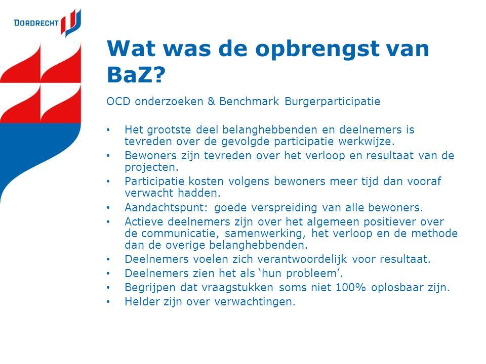 Wat was de opbrengst van BaZ? OCD onderzoeken & Benchmark Burgerparticipatie Het grootste deel belanghebbenden en deelnemers is tevreden over de gevol