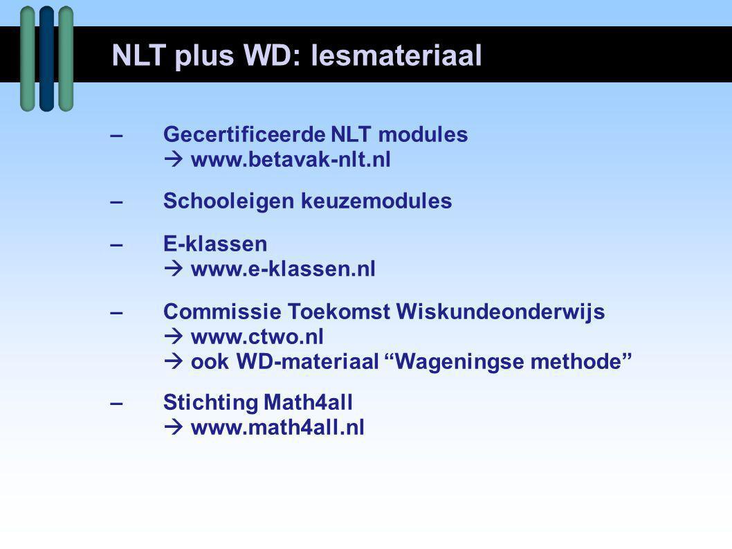 –Gecertificeerde NLT modules  www.betavak-nlt.nl –Schooleigen keuzemodules –E-klassen  www.e-klassen.nl –Commissie Toekomst Wiskundeonderwijs  www.