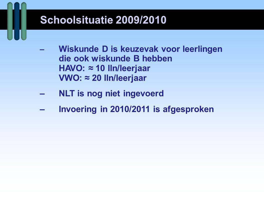 – Wiskunde D is keuzevak voor leerlingen die ook wiskunde B hebben HAVO: ≈ 10 lln/leerjaar VWO: ≈ 20 lln/leerjaar –NLT is nog niet ingevoerd –Invoerin
