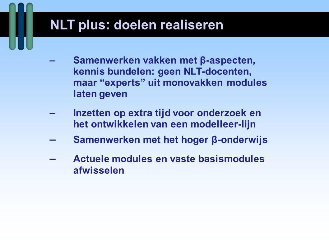 –Gecertificeerde NLT modules  www.betavak-nlt.nl –Schooleigen keuzemodules –E-klassen  www.e-klassen.nl –Commissie Toekomst Wiskundeonderwijs  www.ctwo.nl  ook WD-materiaal Wageningse methode –Stichting Math4all  www.math4all.nl NLT plus WD: lesmateriaal
