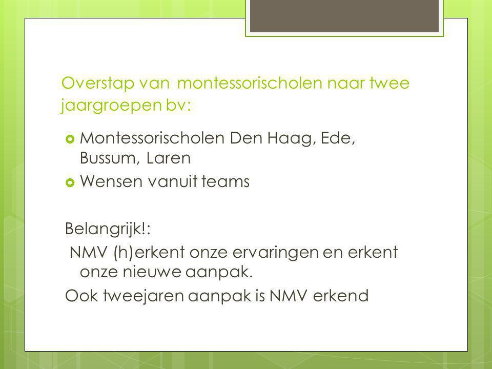Overstap van montessorischolen naar twee jaargroepen bv:  Montessorischolen Den Haag, Ede, Bussum, Laren  Wensen vanuit teams Belangrijk!: NMV (h)erkent onze ervaringen en erkent onze nieuwe aanpak.