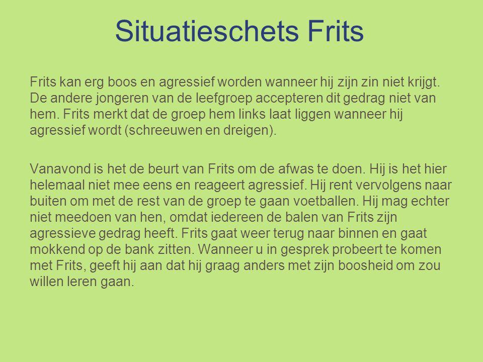 Situatieschets Frits Frits kan erg boos en agressief worden wanneer hij zijn zin niet krijgt.