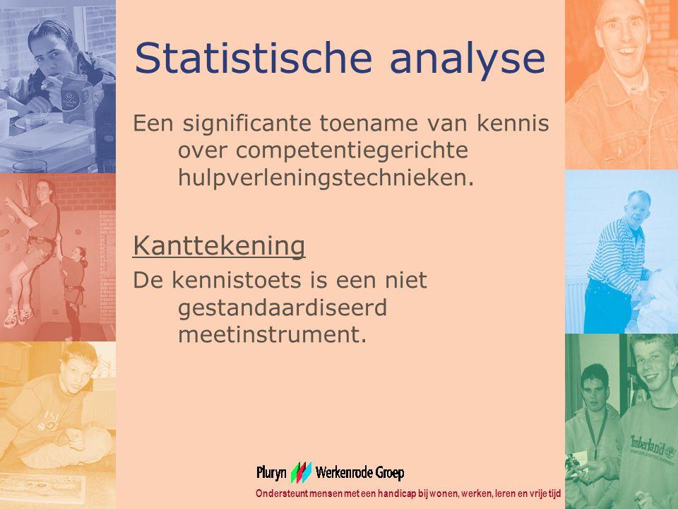 Ondersteunt mensen met een handicap bij wonen, werken, leren en vrije tijd Statistische analyse Een significante toename van kennis over competentiegerichte hulpverleningstechnieken.