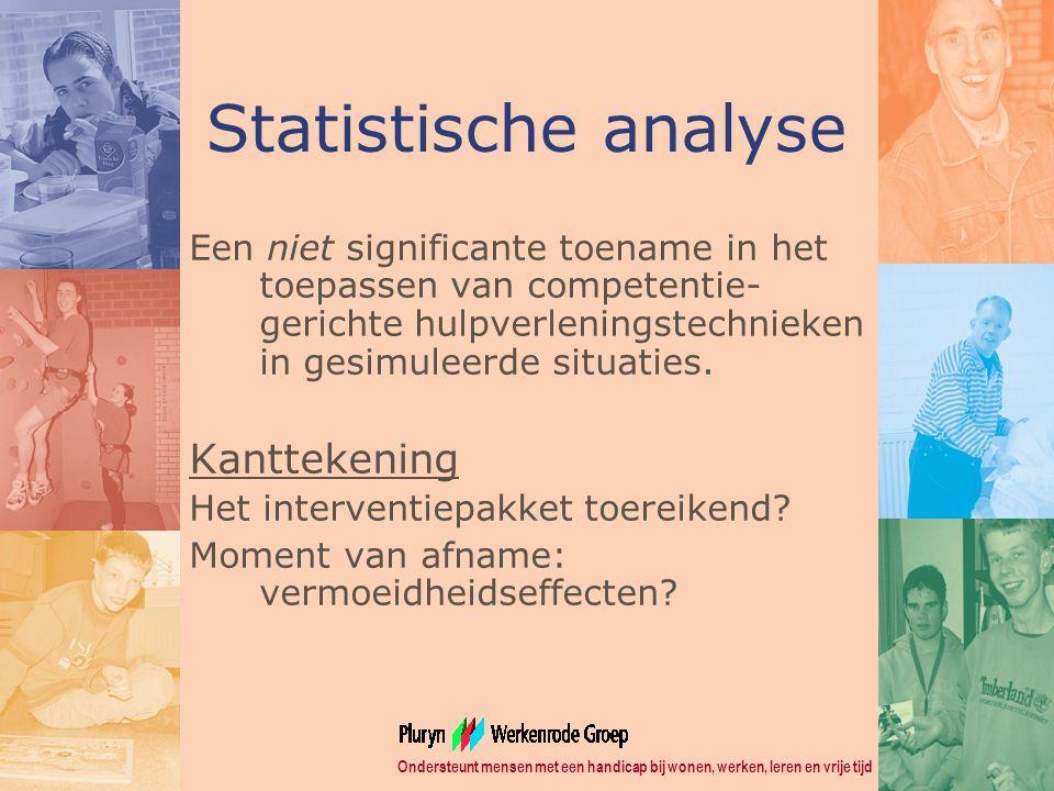 Ondersteunt mensen met een handicap bij wonen, werken, leren en vrije tijd Statistische analyse Een niet significante toename in het toepassen van competentie- gerichte hulpverleningstechnieken in gesimuleerde situaties.