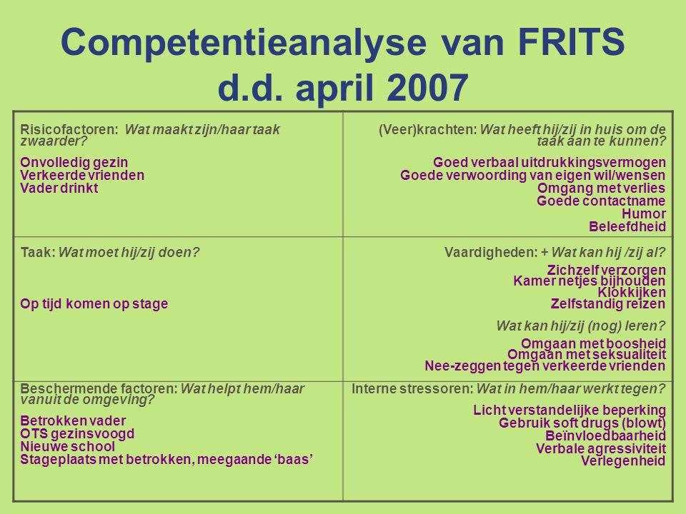 Competentieanalyse van FRITS d.d.april 2007 Risicofactoren: Wat maakt zijn/haar taak zwaarder.