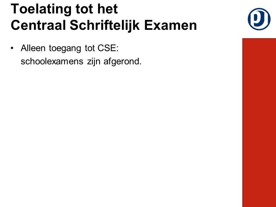 Alleen toegang tot CSE: schoolexamens zijn afgerond. Toelating tot het Centraal Schriftelijk Examen
