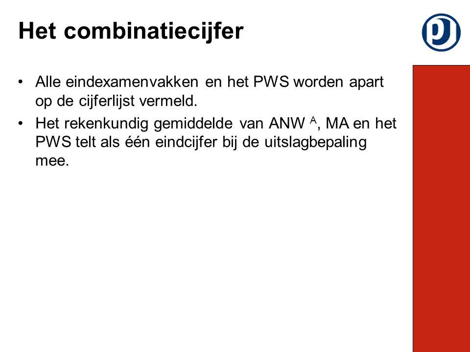 Alle eindexamenvakken en het PWS worden apart op de cijferlijst vermeld. Het rekenkundig gemiddelde van ANW A, MA en het PWS telt als één eindcijfer b