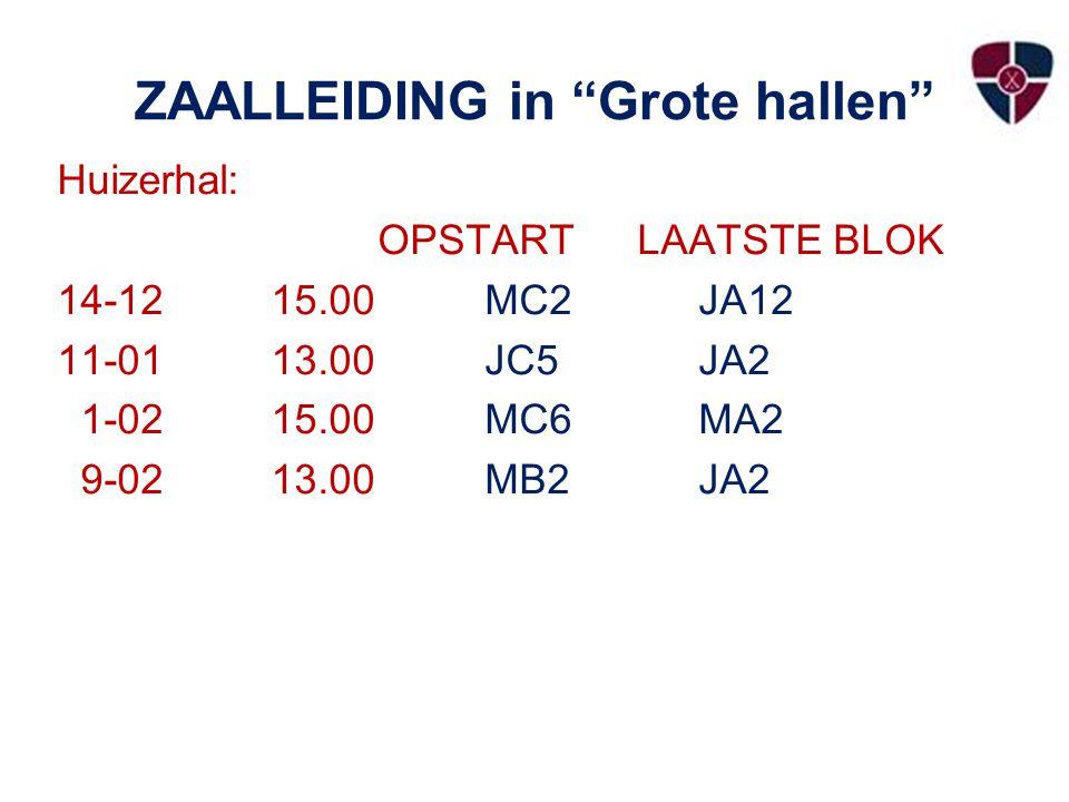 ZAALLEIDING in Grote hallen Huizerhal: OPSTART LAATSTE BLOK 14-1215.00 MC2JA12 11-0113.00JC5JA2 1-0215.00MC6MA2 9-0213.00MB2JA2