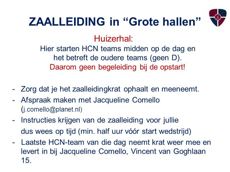 ZAALLEIDING in Grote hallen Huizerhal: Hier starten HCN teams midden op de dag en het betreft de oudere teams (geen D).