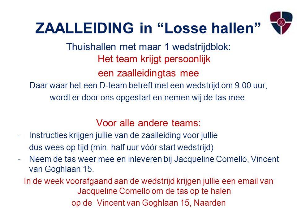 ZAALLEIDING in Losse hallen Thuishallen met maar 1 wedstrijdblok: Het team krijgt persoonlijk een zaalleidingtas mee Daar waar het een D-team betreft met een wedstrijd om 9.00 uur, wordt er door ons opgestart en nemen wij de tas mee.