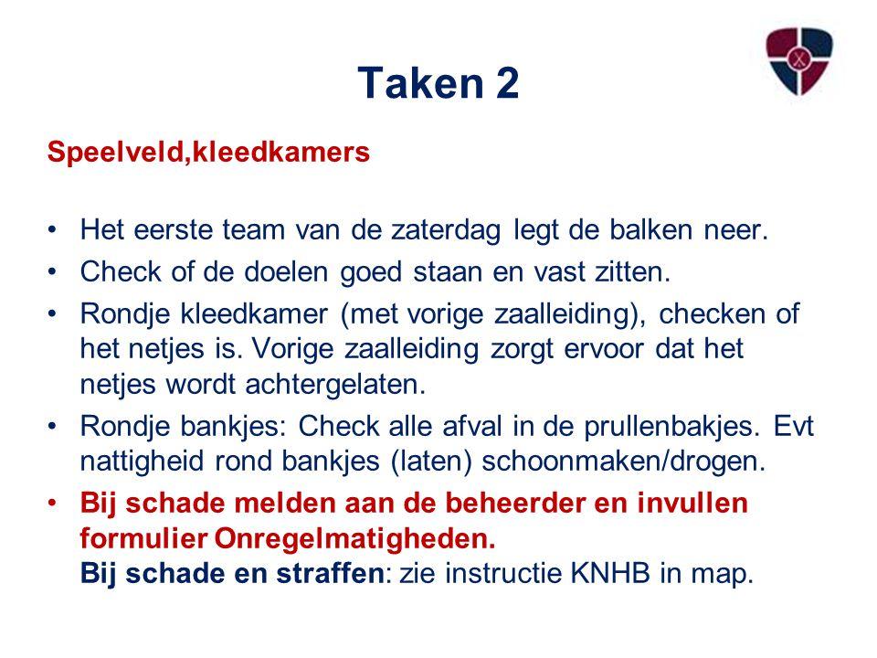 Taken 3 Teams Let op dat de spelers van Thuis en Gast aan juiste kant staan volgens het wedstrijdscoreformulier.