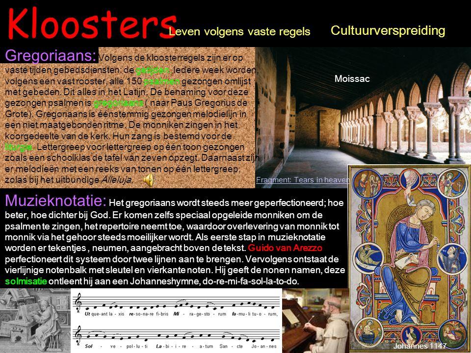 Kloosters Gregoriaans: Volgens de kloosterregels zijn er op vaste tijden gebedsdiensten: de getijden. Iedere week worden, volgens een vast rooster, al