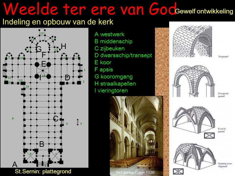 Weelde ter ere van God Gewelf ontwikkeling St.Sernin: plattegrond Indeling en opbouw van de kerk A westwerk B middenschip C zijbeuken D dwarsschip/tra
