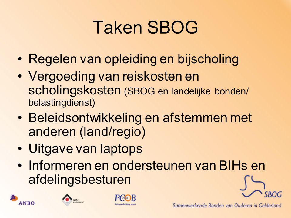 Taken SBOG Regelen van opleiding en bijscholing Vergoeding van reiskosten en scholingskosten (SBOG en landelijke bonden/ belastingdienst) Beleidsontwi