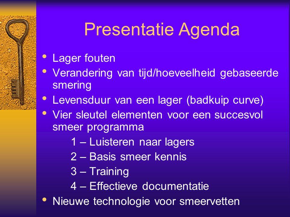 Presentatie Agenda Lager fouten Verandering van tijd/hoeveelheid gebaseerde smering Levensduur van een lager (badkuip curve) Vier sleutel elementen vo
