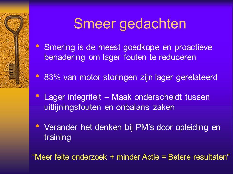 Smeer gedachten Smering is de meest goedkope en proactieve benadering om lager fouten te reduceren 83% van motor storingen zijn lager gerelateerd Lage