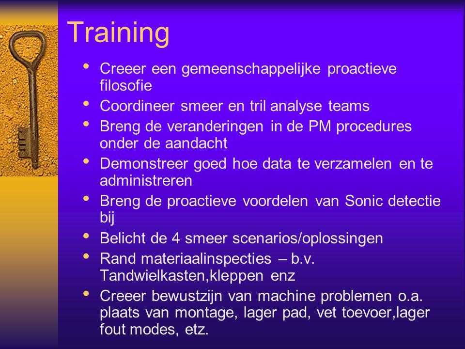 Training Creeer een gemeenschappelijke proactieve filosofie Coordineer smeer en tril analyse teams Breng de veranderingen in de PM procedures onder de