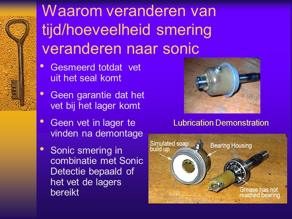 Waarom veranderen van tijd/hoeveelheid smering veranderen naar sonic Gesmeerd totdat vet uit het seal komt Geen garantie dat het vet bij het lager kom
