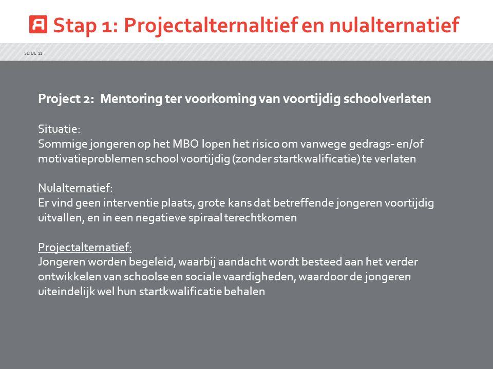 Stap 1: Projectalternaltief en nulalternatief SLIDE 11 Project 2: Mentoring ter voorkoming van voortijdig schoolverlaten Situatie: Sommige jongeren op