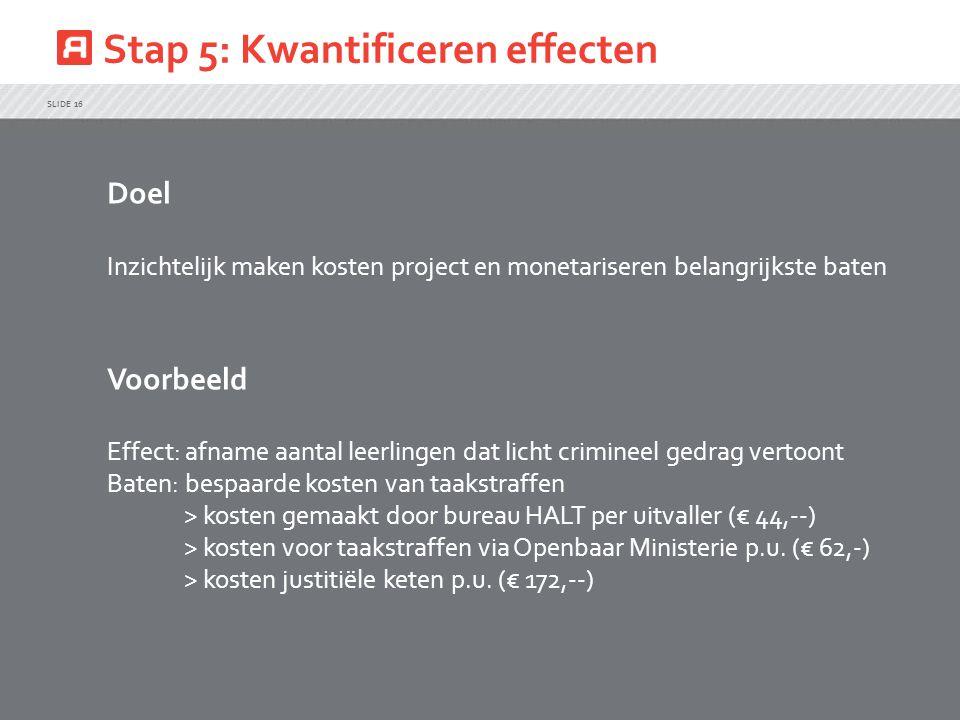 Stap 5: Kwantificeren effecten SLIDE 16 Doel Inzichtelijk maken kosten project en monetariseren belangrijkste baten Voorbeeld Effect: afname aantal le