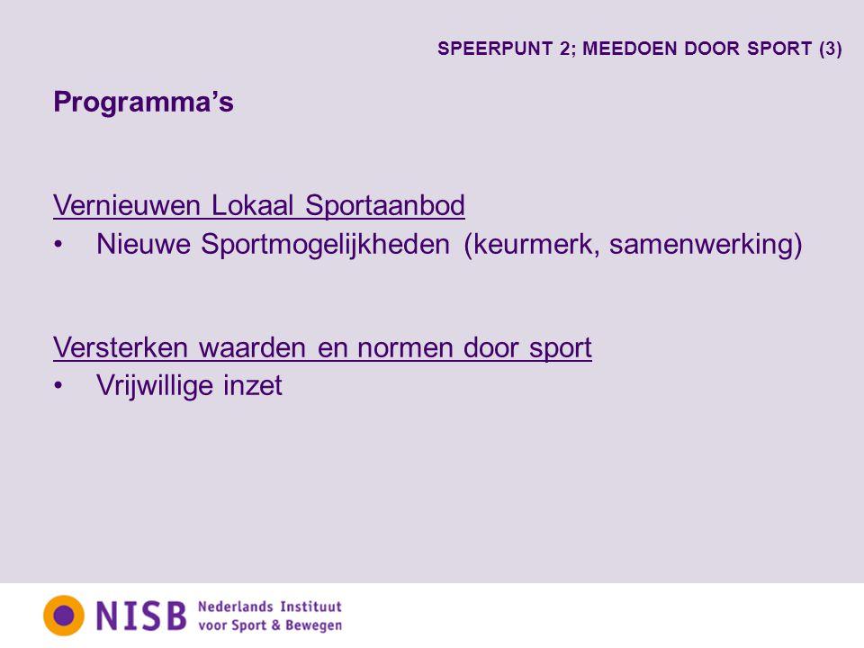 Programma's Vernieuwen Lokaal Sportaanbod Nieuwe Sportmogelijkheden (keurmerk, samenwerking) Versterken waarden en normen door sport Vrijwillige inzet SPEERPUNT 2; MEEDOEN DOOR SPORT (3)