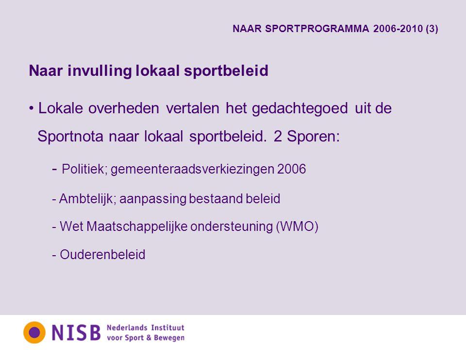 NAAR SPORTPROGRAMMA 2006-2010 (3) Naar invulling lokaal sportbeleid Lokale overheden vertalen het gedachtegoed uit de Sportnota naar lokaal sportbeleid.