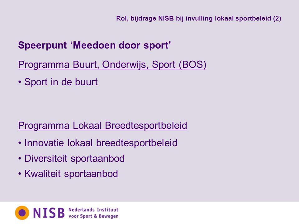 Rol, bijdrage NISB bij invulling lokaal sportbeleid (2) Speerpunt 'Meedoen door sport' Programma Buurt, Onderwijs, Sport (BOS) Sport in de buurt Programma Lokaal Breedtesportbeleid Innovatie lokaal breedtesportbeleid Diversiteit sportaanbod Kwaliteit sportaanbod