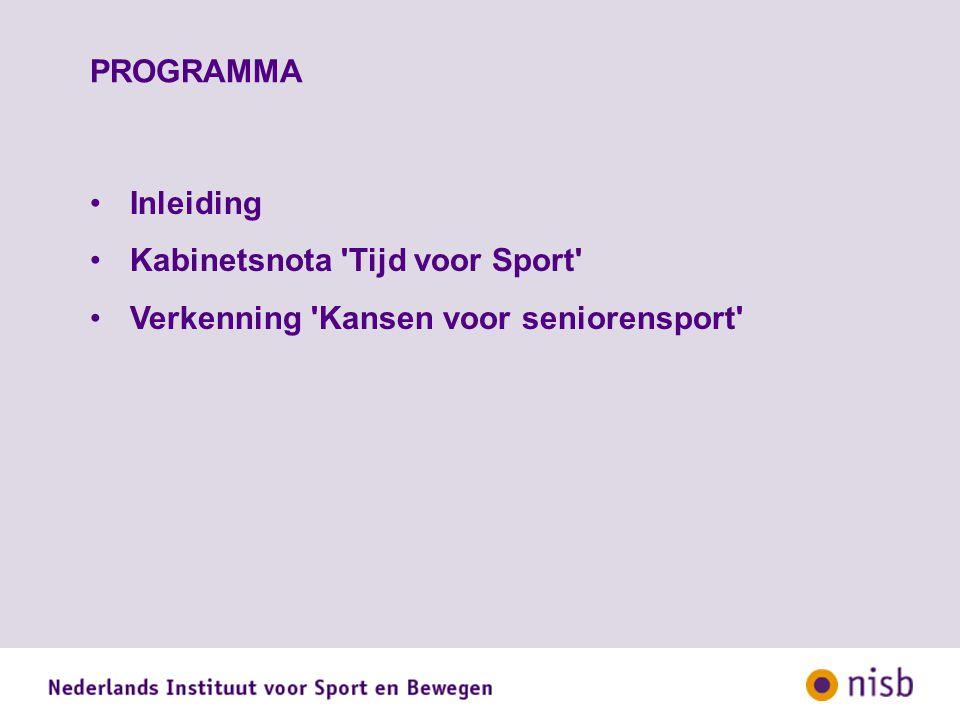 PROGRAMMA Inleiding Kabinetsnota Tijd voor Sport Verkenning Kansen voor seniorensport