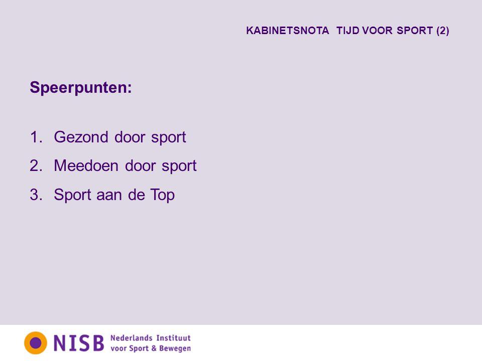 Speerpunten: 1.Gezond door sport 2.Meedoen door sport 3.Sport aan de Top KABINETSNOTA TIJD VOOR SPORT (2)