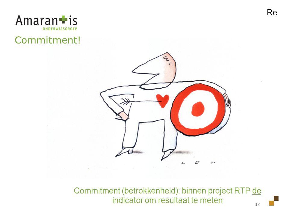 17 Commitment! Commitment (betrokkenheid): binnen project RTP de indicator om resultaat te meten Re