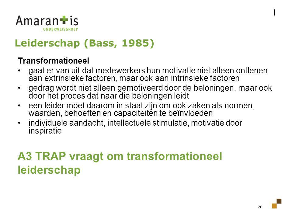 20 Leiderschap (Bass, 1985) Transformationeel gaat er van uit dat medewerkers hun motivatie niet alleen ontlenen aan extrinsieke factoren, maar ook aa