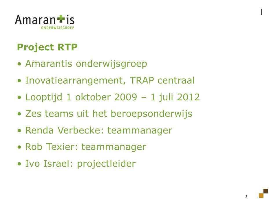 3 Project RTP Amarantis onderwijsgroep Inovatiearrangement, TRAP centraal Looptijd 1 oktober 2009 – 1 juli 2012 Zes teams uit het beroepsonderwijs Ren