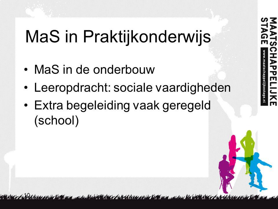 10 MaS in Praktijkonderwijs MaS in de onderbouw Leeropdracht: sociale vaardigheden Extra begeleiding vaak geregeld (school)