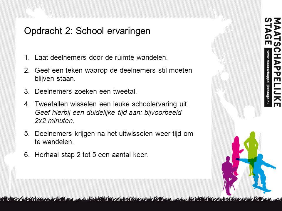 Opdracht 2: School ervaringen 1.Laat deelnemers door de ruimte wandelen.