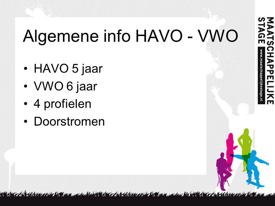 4 Algemene info HAVO - VWO HAVO 5 jaar VWO 6 jaar 4 profielen Doorstromen