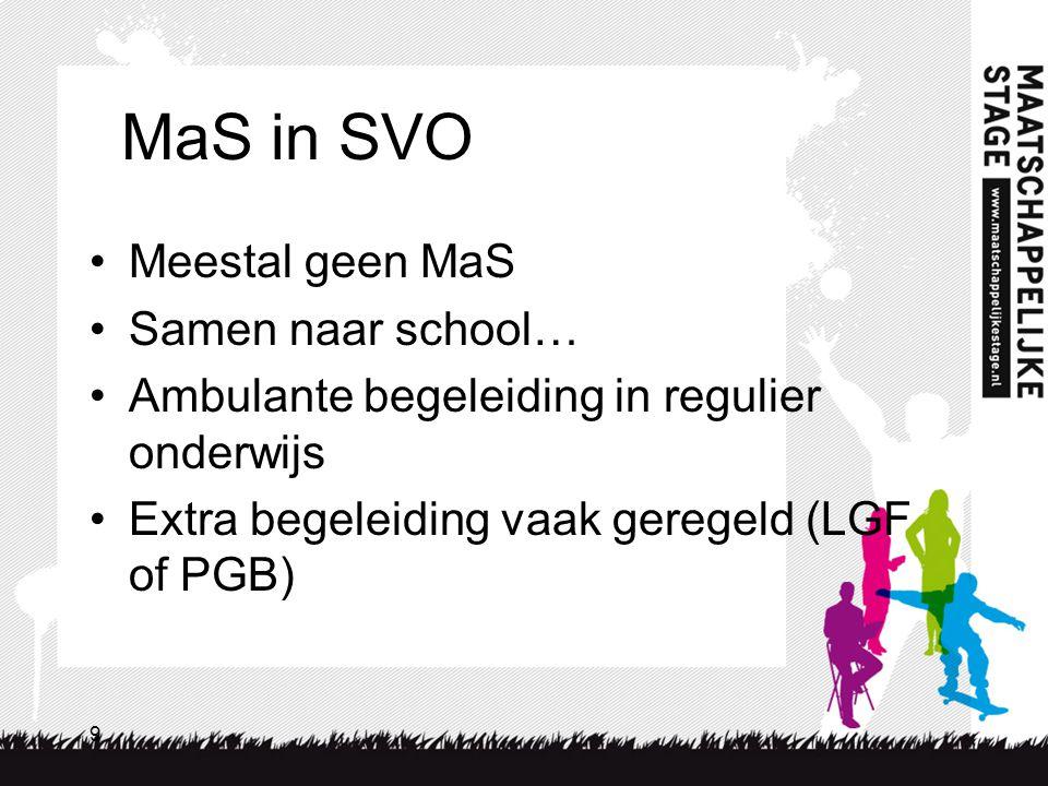 9 MaS in SVO Meestal geen MaS Samen naar school… Ambulante begeleiding in regulier onderwijs Extra begeleiding vaak geregeld (LGF of PGB)
