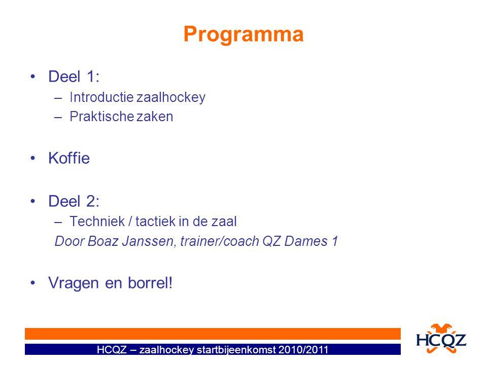 Programma Deel 1: –Introductie zaalhockey –Praktische zaken Koffie Deel 2: –Techniek / tactiek in de zaal Door Boaz Janssen, trainer/coach QZ Dames 1 Vragen en borrel!