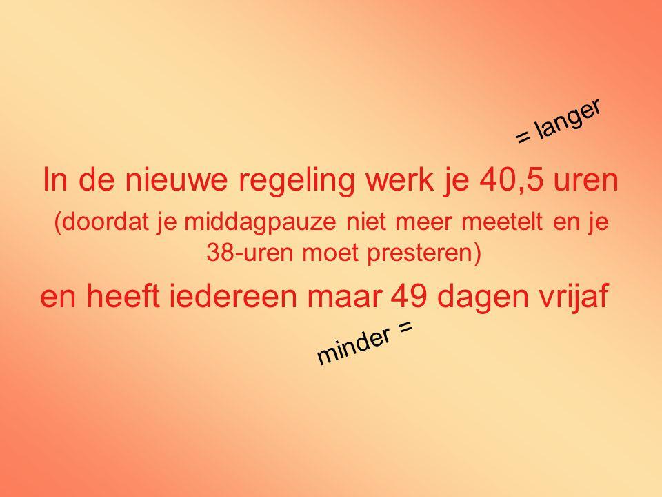 In de nieuwe regeling werk je 40,5 uren (doordat je middagpauze niet meer meetelt en je 38-uren moet presteren) en heeft iedereen maar 49 dagen vrijaf = langer minder =