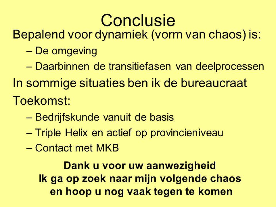Conclusie Bepalend voor dynamiek (vorm van chaos) is: –De omgeving –Daarbinnen de transitiefasen van deelprocessen In sommige situaties ben ik de bure