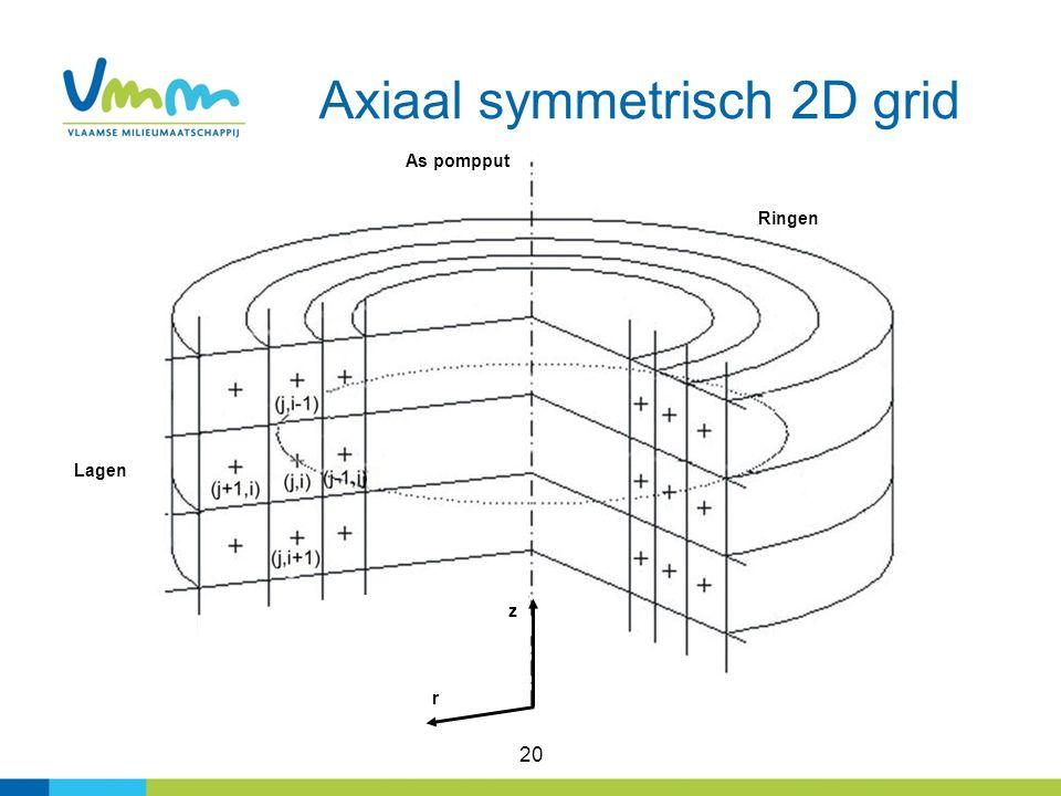 20 Axiaal symmetrisch 2D grid Ringen Lagen As pompput z r